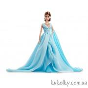 Коллекционная кукла Барби силкстоун в голубом шифоновом платье