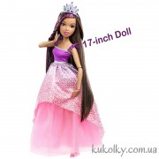 Высокая Барби принцесса шатенка с длинными волосами