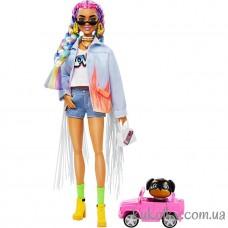 Кукла Барби Экстра №5 джинсовая курточка (Barbie Extra Doll in Long Fringe Denim Jacket with Pet Puppy)