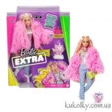 Кукла Барби Экстра №3 в розовой шубке со свинкой единорогом (Barbie Extra Doll #3 in Pink Coat with Pet Unicorn-Pig)