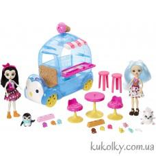 Игровой набор с двумя куклами Фургончик мороженого Энчантималс (Frozen Treats Truck Preena Penguin Doll & Jayla)