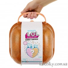 Сердце сюрприз в золотом чемодане ЛОЛ (L.O.L. Surprise! Bubbly Surprise (Orange/Gold) with Exclusive Doll and Pet LOL)