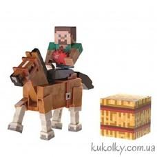 Стив и коричневая лошадь Майнкрафт (Minecraft Steve and Chestnut Horse Action Figure)