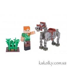 Алекс и лошадь скелет Майнкрафт (Minecraft Alex Skeleton Horse Action Figure)