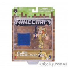 Алекс в золотой броне фигурка Майнкрафт (Minecraft Alex in Gold Armor Action Figure Pack)