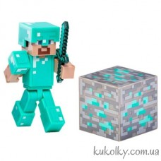 Стив в алмазной броне фигурка Майнкрафт (Minecraft Diamond Steve Action Figure)