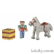 Стив и белая лошадь Майнкрафт (Minecraft Steve and White Horse Action Figure)