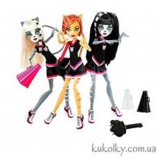 Набор из трех кукол Монстер Хай Торалей, Мяулодия и Пурсефона серии Группа поддержки