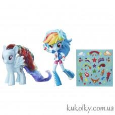 Блестящая кукла минис Май Литл пони Рейнбоу Деш и пони (My Little Pony Rainbow Dash Toys Glitter Pony & Equestria Girls Doll)