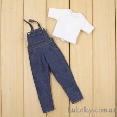 Джинсовый комбинезон с футболкой для куклы Пуллип, Блайз (белый с ментоловым)