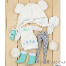 Зимний новогодний костюм для куклы Пуллип, Блайз (белый с ментоловым)